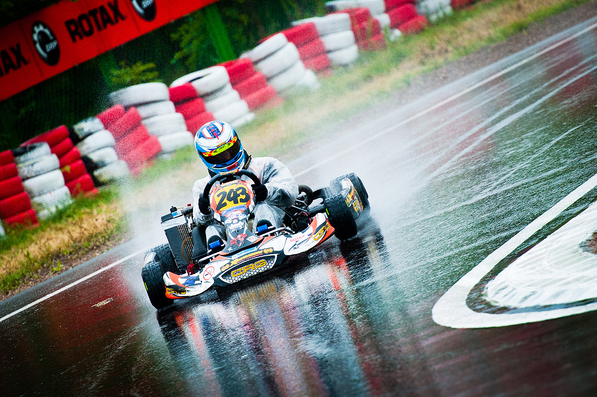 Paweł Myszkier w czasach jazdy w kategorii Rotax Junior Max w Polsce. Runda w Suwałkach w 2011 roku.
